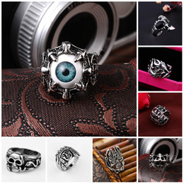 Stainless Steel Rings Silver Brand Demon Eye Vintage Mens Punk Ring China Wholesale Stainless Steel Jewelry Steampunk Men's Rings