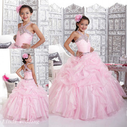 Pink Sparkly Girl's Pageant Dress Princess Ball Gown Rhinestone Party Cupcake Prom Dress For Young Short Girl Pretty Dress For Little Kid