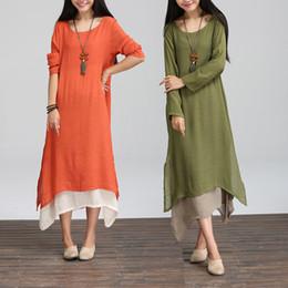 Wholesale-New Autumn Cotton Linen Vintage Dress Women O-Neck Casual Loose Boho Long Maxi Dresses Vestidos Plus Size long sleeve