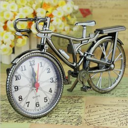 Wholesale New Brown Analog Travel Desk Alarm Clock DIY Bicycle Bike Model Battery Operated Cool clock fashion and personality Alarm Clock