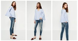 The new blue collar shirt sleeve stripes V female Xia Xianshou loose long sleeved T-Shirt Size Pullover Jacket