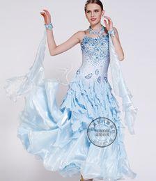 light blue ballroom Waltz tango salsa Quick step competition dress