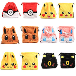 6 Style 20x15cm Pikachu Eevee Espeon Pokémon Pocket Monsters Plush Soft Coin Bag Multifunctional Phone Bag Card Bag