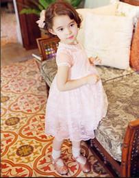 Korea styly summer girls short sleeve skirt kids cotton clothing skirt princes dress baby tulle dress children lace clothing XZT037