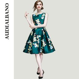 Wholesale AUDEALBANO Advance Sale Texture Casual Printemps Floral Print Ties Waisted Art Deco Pleated Women Knee Length Dresses