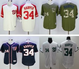 Wholesale 2016 new Washington Nationals Bryce Harper MLB baseball jerseys Majestic Red white blue grey Big Tall Official Cool Base Player Jersey