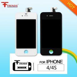 Part entière à vendre-Pour iPhone 4 4S écran LCD écran tactile Digitizer Full Assembly pièces de rechange Prix pas cher 50pcs / lot noir blanc Livraison gratuite