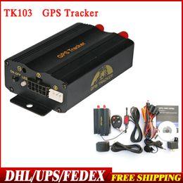 Pc shock del sistema en venta-10pcs / lot DHL del envío del ccsme Nueva TK103 B con mando a distancia dual y sistema GPS basado en PCWeb Quad Band sensor del choque GPS103