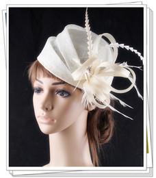 Wholesale 3 color elegant sinamay headwear with rooster feather adorned fashion wedding fascinator cocktail hats lotFNR151261