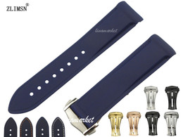 Curved end Rubber watch band 22mm NEW HQ Mens Blue Diver strap