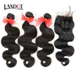Wholesale Brazilian Body Wave Virgin Hair Weave With Closure A Grade Bundles Unprocessed Brazilian Human Hair Weave Add Lace Closures Natural Color
