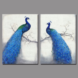 Wholesale Art Retro Blue peacock children living room kids decoration canvas birds painting printed wall hanging home decor unframed