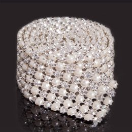 1Yard 6Rows Crystal Rhinestone Pearl Ribbon Bling Deco Wedding Decoraion Supplies Wedding Cake Bridal Dress Sewing Sparkly Ribbon Warps
