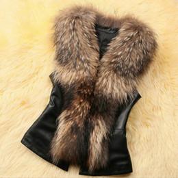 2017 women s faux fur vest imitação de pele de guaxinim gola de pele casaco de pele colete senhoras pele atacado e inverno das mulheres Faux Fur Vest short slim 2 cores women s faux fur vest liberação