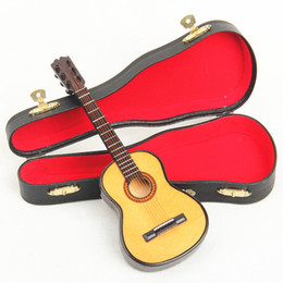 Free Shipping Wooden Mini Instrument Guitar Decoration Wooden Mini Guitar Toy