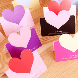 30pcs Heart Shape Birthday Greeting Cards With Envelope Creative Cards Blessings Love Heart Wedding Greeting Card Free Shipping Papelaria