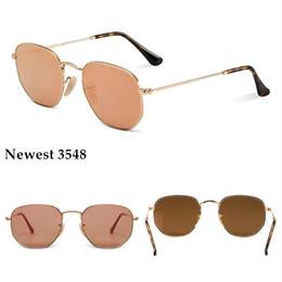 Gafas de sol de color rosa en Línea-Gafas de sol de la marca de fábrica del estilo de AOOKO 3548 gafas de sol hexagonales del metal de la manera gafas de sol irregulares de la manera de la personalidad 10 colores plata rosada de la plata del mercurio
