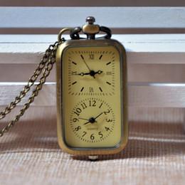 Mujer del reloj del collar en Línea-Regalo Regarder A277 del reloj de las mujeres de los hombres de la cadena del collar del reloj del reloj de bolsillo del cuarzo del cuadrado de bronce de la Al por mayor-