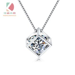 lingdong fashion brand Cube Pendant 2016 new s925 Sterling Silver Chain Necklace Jewelry box gift for Valentine's Day Free shipping