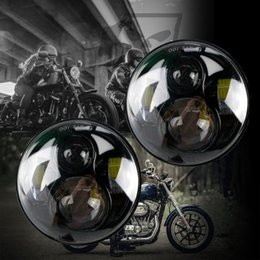 """UK flood light hidden - PAIR 5.75"""" 5 3 4 inch LED Motorcycle Headlight Daymaker Black Projector DRL Bulb HID Front Driving Headlamp Head Ligh For Harley"""