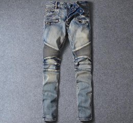 Wholesale Mens Balmain Blue Distressed White Skinny Fit Denim Biker Jeans Mens Jeans Retro Wash Size