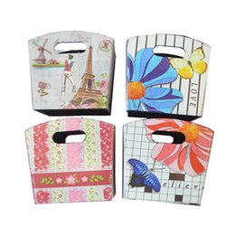 Tapered Storage boxes Set of 4 - Storage Bin for Organization - Foldable Fabric Storage With Floral print Containers with Two Handle Holes