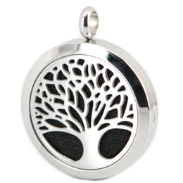 1pcs family trees flower Aromatherapy Essential Oil surgical Stainless Steel Perfume Diffuser Locket Necklace with chain and felt pads