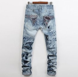 Wholesale 2016 top hiphop Hole Mens Jeans new sales Jeans US style beauty men Straight Cotton Jeans Rhinestone ripped Large Size