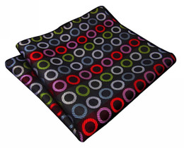PH28 Handkerchief Hanky Geometrical Multicolor Black Pocket Square Mens Ties Silk Jacquard Woven Hankies