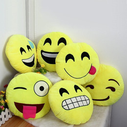 Wholesale 22 Styles Soft Emoji Smiley Cushions Pillows QQ Facial Emotions Pillow Yellow Round Cushion Stuffed Plush Toy Gift For Baby Kids