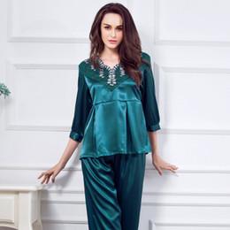 Wholesale Womens Silk Satin Pajamas Set Pajama Pyjamas Set Sleepwear Loungewear Plus Size Solid Emulation silk Three Quarter