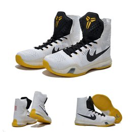 Wholesale With shoes Box New Bryant Kobe X KB Elite High White Black Yollew Men Boots Shoes