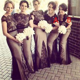 Elegant Sheer Crew Neck Long Mermaid Bridesmaid Dresses Black Lace Cap Sleeves Zipper Plus Size Formal Dresses A B Desinger Lady Dress
