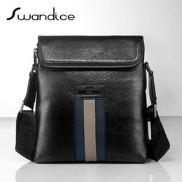 Wholesale 2016 Genuine Leather Real Cow Grain Leather Men Cross Body Bags High Quality Vertical Slim Casual Web Band Messenger Bags Small