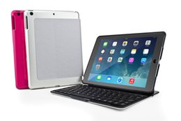 Wholesale iPad Air Keyboard Case Built in led color beautiful backlit Aluminum Bluetooth Keyboard Case Cover Built in Stand Free Screen Protector