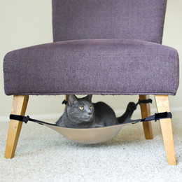 Wholesale Fully Adjustable Cat Crib Hammock Under Chair Lounge Bed Dark Grey Beige