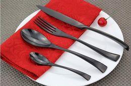 Wholesale 1 set France KaYa black gold plated black stainless steel tableware Western steak knife and fork spoon Cutlery Set black gold