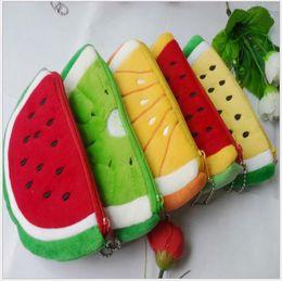 Wholesale Fruit zero wallet kiwi fruit watermelon orange cloth art cartoon birthday gift wedding gift plush coin package