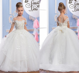 2017 Pearls Lace Sheer Neck Tulle Arabic Flower Girl Dresses Vintage Child Pageant Dresses Beautiful Flower Girl Wedding Dresses
