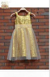 2015 Pageant dresses Light Champagne Sequined Flower Girls Dresses Straps White Tulle Communion Gowns Sleeveless Zipper