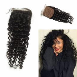 Brazilian Silk Base Closure,Free 3 Part Deep Wave Silk Base Closure Brazilian Virgin Hair,4x4 Silk Top Closure LaurieJ Hair