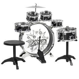 Ensembles de batterie en Ligne-Kids Drum Set Jouet pour enfants avec cymbales Stands Throne Black Silver Toys Toy Drum Kit