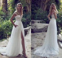 Limor Rosen Elegant Lace Appliques Tulle Beach Wedding Dresses 2017 High Split V Neck Backless Belt Country Boho Bridal Gowns