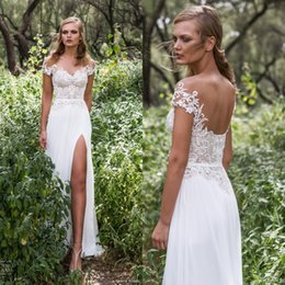 Wholesale 2017 New Boho Off Shoulder Thigh High Slits Chiffon Wedding Dresses A Line Beach Backless Lace Appliqued Bridal Gowns Bohemian Party Gowns