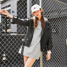 Wholesale Cheap Winter Leather Jackets - 2016 Fashion Black PU Leather Coat Women Winter Jacket Casaco Feminino Jacket Korean Style Long Coats Overcoats Cheap fs0869