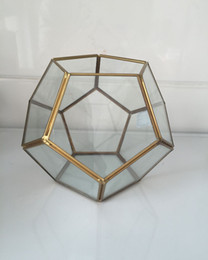 Wholesale football brass metal glass air plant Geometric terrariums balls flower vase for friend gift Prism Glass Terrarium Air Plant