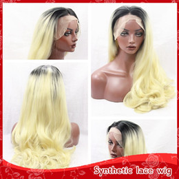 Cheap Ombre Blonde Hair Sexy Body Wavy Long Wigs With Baby Hair Glueless Brazilian Synthetic Lace Wigs for Black Women Heat Resistant