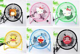 Wholesale Portable USB fan wrought iron fan Cartoon small fan Aluminum small fan inch small Quiet fan Mini USB fan