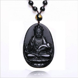 Wholesale Natural Obsidian Necklace Fashion Black Ruyi Guan Yin Pendant For Women Men Vintage Fine Jade Jewelry Ornaments mm