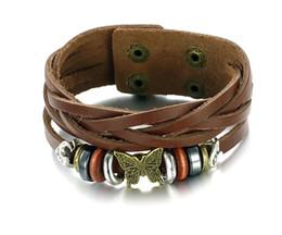 Retro style butterfly Leather Bracelet Hot Men's Genuine Leather Bracelet Adjustable Size Rock Style Men Jewelry Bracelets & Bangles